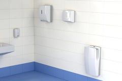 Trois types différents de dessiccateurs de main dans la toilette illustration libre de droits
