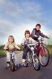 Trois vélos de tour de frères Images stock