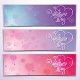 Trois Valentine Banners - rose pourpre Photos libres de droits