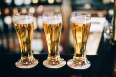 Trois verres avec des bières dans un bar Image libre de droits