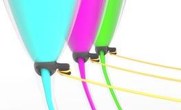 Trois verres avec le liquide de couleur d'isolement sur l'illustration 3d blanche Photographie stock libre de droits