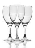 Trois verres de vin vides Images libres de droits