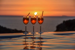 Trois verres du cocktail italien célèbre spritz et sa référence Photos libres de droits