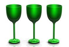 Trois verres verts Photos libres de droits