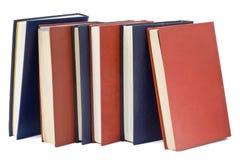 Trois vieux livres bleus et trois rouges Photo stock