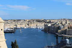 Trois villes comme vu de La Valette, Vittoriosa, Senglea, Cospicua, Malte Photos stock