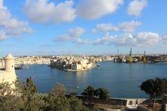 Trois villes comme vu de La Valette, Vittoriosa, Senglea, Cospicua, Malte Image libre de droits