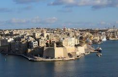Trois villes comme vu de La Valette, Vittoriosa, Senglea, Cospicua, Malte Images stock