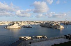 Trois villes comme vu de La Valette, Vittoriosa, Senglea, Cospicua, Malte Photo stock