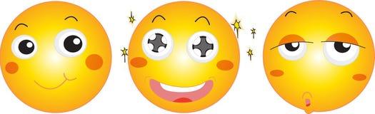 Trois visages souriants Images stock