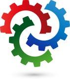 Trois vitesses, outils et logos de serrurier illustration stock