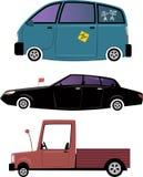 Trois voitures de bande dessinée illustration de vecteur