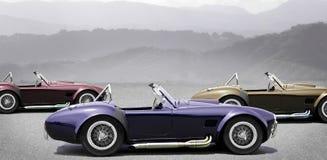 Trois voitures de sport convertibles Images libres de droits