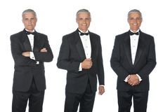 Trois vues d'homme mûr utilisant un smoking image libre de droits