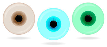 Trois yeux vitreux de couleurs Photographie stock libre de droits