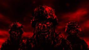 Trois zombis de soldats dans les casques Couleur rouge illustration stock