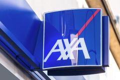 Axa sign in troisdorf germany. Troisdorf, North Rhine-Westphalia/germany - 16 11 18: axa sign in troisdorf germany royalty free stock photos