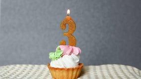 Troisième anniversaire, gâteau de joyeux anniversaire avec le numéro 3 bougies banque de vidéos
