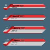 Troisième bannières inférieures rouges Image stock