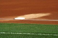 Troisième base sur une zone de base-ball Photo libre de droits