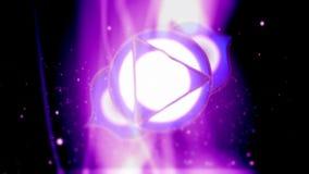 Troisième oeil Chakra Ajna Mandala Spins dans le domaine pourpre d'énergie illustration stock