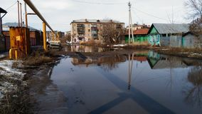 Troitsk city abadoned. Water abadoned city building houses Stock Photography