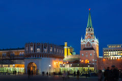 Troitskaya and Kutafya towers in Moscow Kremlin at night Stock Image
