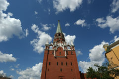 Troitskaya Tower and Kutafia (bridgehead) tower, Moscow Kremlin Stock Photo