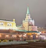 Troitskaya Tower of Moscow Kremlin at night, Russia Royalty Free Stock Photography