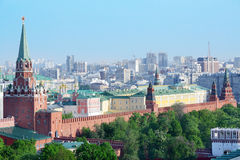 Troitskaya Tower, temples and buildings of Kremlin Stock Photos