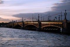 Troitskij Bridge in a white night Stock Image