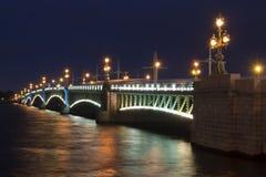 Troitskiy bridge at night, Saint Petersburg, Russia Stock Photography