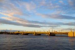 Troitskiy bridge in St. Petersburg on sunset Royalty Free Stock Image