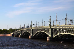 Troitsky Bridge in Saint Petersburg Stock Photos
