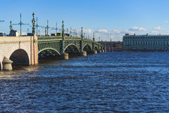 The Troitsky bridge in Saint-Petersburg, spring Stock Photos