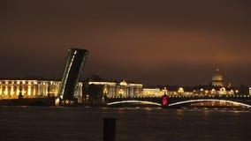Troitsky drawbridge. Saint-Petersburg. 4K. Troitsky drawbridge. Saint-Petersburg. White nights. Neva. The bridges. The Northern capital. Leningrad. Shot in 4K ( stock footage