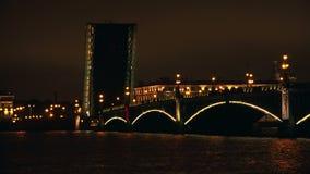 Troitsky drawbridge. Saint-Petersburg. 4K. Troitsky drawbridge. Saint-Petersburg. White nights. Neva. The bridges. The Northern capital. Leningrad. Shot in 4K ( stock video