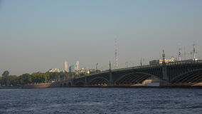 Troitsky drawbridge. Saint-Petersburg. 4K. Troitsky drawbridge. Saint-Petersburg. White nights. Neva. The bridges. The Northern capital. Leningrad. Shot in 4K stock footage