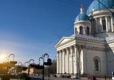 Troitsky Izmaylovsky大教堂, 18世纪在圣彼德堡,俄罗斯 免版税图库摄影