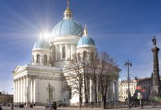 Troitsky Izmaylovsky cathedral, 18th century, and a monument `A column of Military glory`, in memory of the Russian-Turkish war. In St. Petersburg, Russia stock images