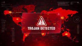 Trojańczyk Wykrywający Raźny ostrzeżenie atak na Parawanowej Światowej mapie ilustracja wektor