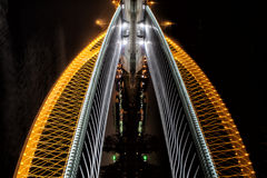 Troja Bridge in Prague as illusion of skyscrapper Stock Image