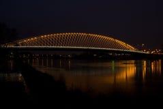 Troja bro i natt - Prague, Tjeckien Arkivbilder