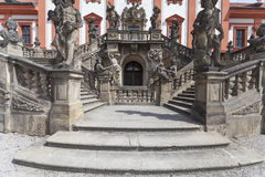 Troja Palace in sunny day, details of entrance ,Prague, Czech Republic, Europe. PRAGUE, CZECH REPUBLIC- MAY 03, 2017:Troja Palace , entrance. It is a Baroque Stock Photo