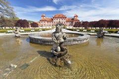 Troja Palace in sunny day, fountain, Prague, Czech Republic, Europe. PRAGUE, CZECH REPUBLIC- MAY 03, 2017:Troja Palace ,fountain. It is a Baroque palace located Stock Photo