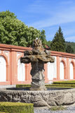 Troja Palace in sunny day, fountain, Prague, Czech Republic. PRAGUE, CZECH REPUBLIC- MAY 03, 2017:Troja Palace ,fountain. It is a Baroque palace located in Troja Stock Image