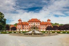 Trojan Castle. PRAGUE, CZECH REPUBLIC - JULY 11: Troja Palace is Baroque palace in Prague north-west borough,Czech Republic.It was built for Counts of Sternberg Stock Image