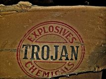 Trojan chemicals explosives. Old dynamite box Stock Image
