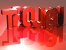 Trojan de 3D Word sur le fond rouge Images stock