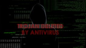 Trojan deleted by antivirus, unsuccessful attempt to infect computer, failure. Stock footage stock footage